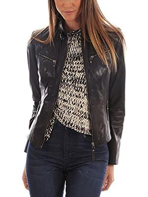 Womens Genuine Gaezy Black Lambskin Leather Jacket, Biker Jacket