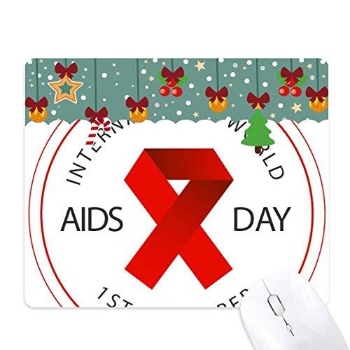 rood lint aids dag hiv bewustzijn solidariteit muis pad spel office mat kerst rubber pad