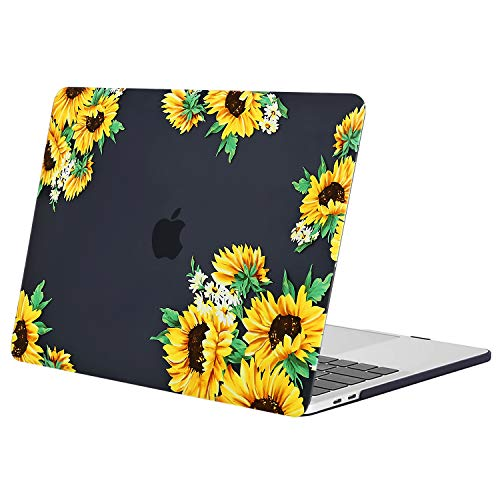 MOSISO MacBook Pro 15 Case 2019 2018 2017 2016 Release A1990 A1707, Plastic Hard Case Shell Cover Compatible with Macbook Pro 15 Inch with Touch Bar and Touch ID, Sunflower Black Base