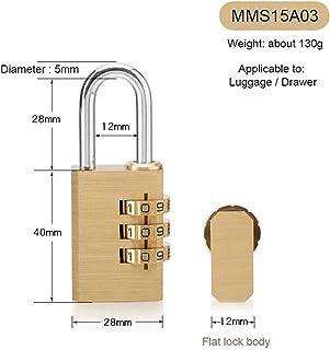 高品質南京錠ソリッドブラスロック数字組み合わせパスワード秘密コードジム用屋外ロッカーケース銅ステンレス鋼 (Color : MMS15A03)