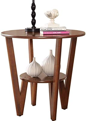 HXH Furniture/Round Wooden Side Table | End Table with Storage Shelf | Coffee Table,23.62''x22.83'' (Color : White) (Color : Brown)