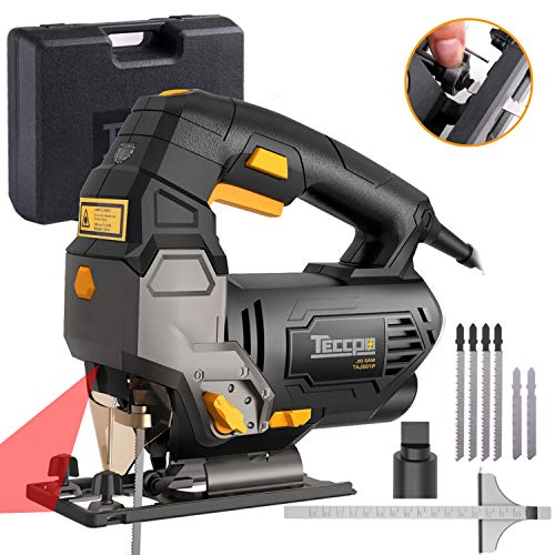 TECCPO Jigsaw, Advanced 3000 SPM Jigsaw with Laser, 6 Blades, Carrying Case, Scale Ruler, Bevel Cutting Angle(-45°-45°), Variable Speed Dial, Pure Copper Motor -TAJS01P