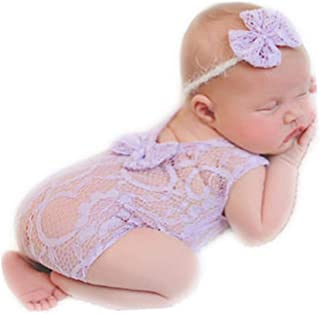 Newborn Infant Baby Photography Props Girls Lace Bow Vest Bodysuits Romper Photo Shoot Princess Clothes