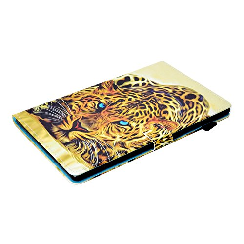 LittleMax Fire HD 10 Case, Colorful Synthetic Leather Kickstand Soft Gel Protective Cover with Auto Wake/Sleep for Amazon Kindle Fire HD 10.1 Inch 7th Gen & 5th Gen -2 Leopard