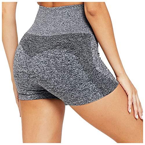 KnuraLA Mujer Pantalones Cortos De Yoga Cintura Alta Skinny Pantalones Cortos Push Up Elástico Leggings De Deportivos Moda Workout Shorts(Gris,S)
