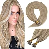 Sunny Hair Extensions Nano Ring 22inch Remy Straight Nano Beads Human Hair Extensions Colde Fusion Blonde Highlighted Extensions 50g/pack