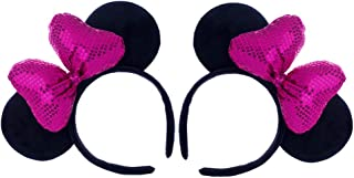CHuangQi Three-Dimensional Rosered Bow Mouse Ears Headband (Set of 2), Double-sided Sequins Bow, Princess Headwear for Party & Amusement Park