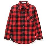 Grandwish Jungen Kariertes Hemd Langarm-Shirts für Mädchen Rot Schwarz Gr.140 (Etikettengröße:160/12)