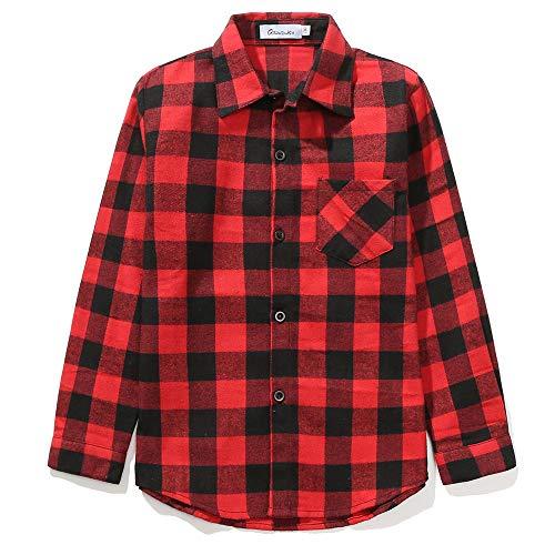 Grandwish Jungen Kariertes Hemd Langarm-Shirts für Mädchen Rot Schwarz Gr.116 116cm (Etikettengröße:130/6)