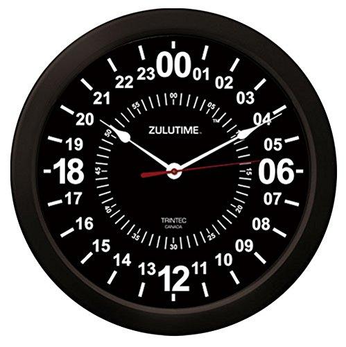 Trintec 24 Hour Military Time SWL Zulu Time Black Wall Clock 10' Dial