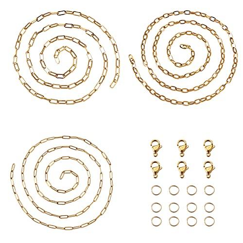 PandaHall Cadena de eslabones de acero inoxidable de 3 metros, color dorado, 3 tamaños, cadena de eslabones ovalados, 4 a 6 mm de ancho, con cierres de langosta y anillos de salto para mujeres y niñas