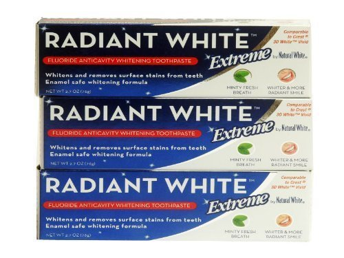 Radiant White Extreme Fluoride Anticavity Whitening Toothpaste, 2.7 oz (Pack of 6)