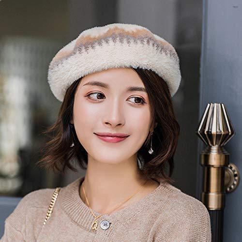 Bylydeco-deco Sombrero De Las Señoras Boina para Mujer Sombrero para Otoño E Invierno Sombrero De Calabaza Yema Sombrero-Beige Gorra Circ