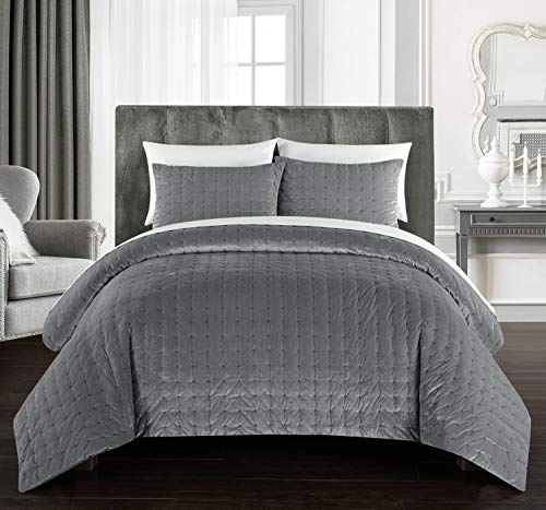 Chic Home Chyna 3 Piece Comforter Set Luxurious Hand Stitched Velvet Bedding - Decorative Pillow Shams Included, King, Grey