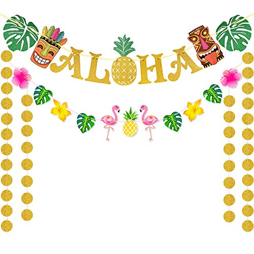 WERNNSAI Hawaii Aloha Party Banner Dekorationen - Flamingo Ananas Tiki Tropische Luau Partei Liefert Bevorzugungen Große Goldene glitzernde Aloha Zeichen Flagge zum Geburtstag Hochzeit Sommer Pool