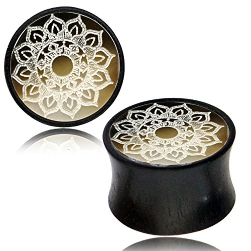 Chic-Net Holzplug Black Shell Lotus Blume Gravur Plug Tamarindenholz Inlay Double Flared | Handarbeit mit Holz Muschel Perlmutt | Unisex für Männer und Frauen 14 mm