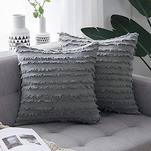Aokali Juego de 2 cojines decorativos bohemios muy suaves para sofá, dormitorio, salón, 30 x 50 cm, color azul oscuro (gris claro 30 x 50)
