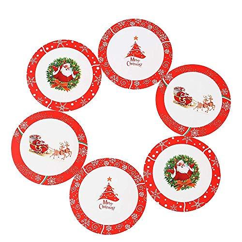 Vajillas Elegantes Posavasos De Patrón De Navidad De 6 Piezas Cojín De Copa Alfombrilla De Café Reutilizable De Pvc Antideslizante Jarra De Cerveza C