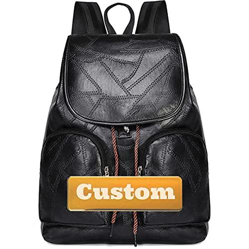 Nombre Personalizado Pequeño Bolso Mochila Casual para Senderismo Bolsa marrón Mochila de Cuero Grande (Color : Hei-xiao, Size : One Size)