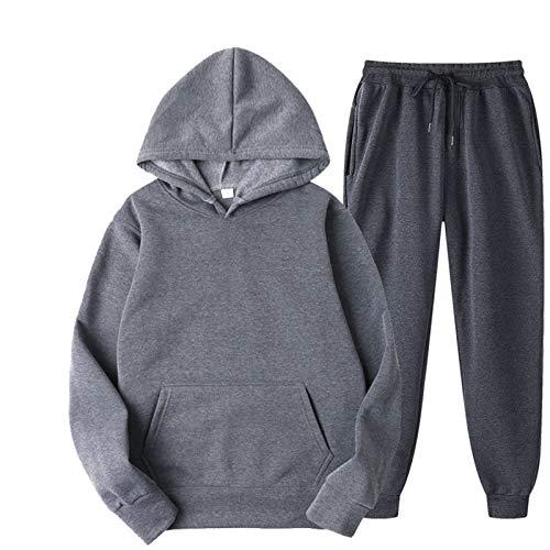 JX-PEP Chándal de manga larga para hombre, deportivo, deportivo, ligero, con capucha, parte superior lisa y parte inferior, gris oscuro, M