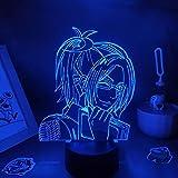 Lámpara de sueño LED 3D Attack on the Titan modelo de personaje de anime 7 Cambio de color Sueño infantil Fiesta navideña Regalos de Navidad Dormitorio de los niños Decoración lige-7 colores Toque