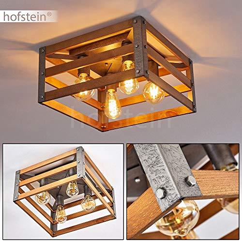 Deckenleuchte Mallard, Deckenlampe aus Holz/Metall in Braun/Silber, 4-flammig, 4 x E27-Fassung max. 28 Watt, eckige Leuchte im Retro/Vintage Design, LED geeignet
