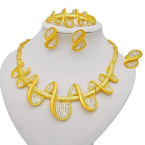 TCross Joyería de Dubai con Incrustaciones de Oro y Pendiente, Juego de Bodas francesas africanas para Mujer, joyería de 24k, Regalo Nupcial etíope (Metal Color : BJ873)