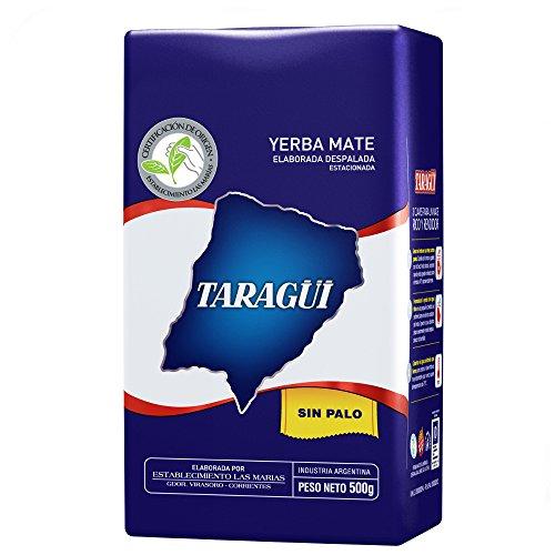 Taragui Mate-Tee SIN PALO, Argentinischer Mate-Tee ohne Staub, Fleischige Blätter ohne Stöcke oder Zweige, Anregend und energetisierend, Perfekter Ersatz für Kaffee oder Energy-Drinks, 500 g