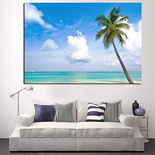 Geiqianjiumai Strand Meer Kokospalme Seestück Landschaftsmalerei Porträt HD auf Leinwand Moderne Wandkunst Poster Bild rahmenlose Malerei 60x90cm