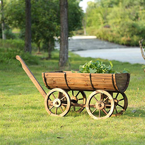 LIUSHI Rustikaler Wagen Holz Pflanzer Blumenwagen Zier Topfhalter Eimer Patio Garten Deck