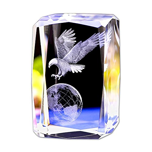 Crystal Glass Cube Eagle Model Paperweight 3D Laser Engraving Figurines Feng Shui Souvenirs Crafts (Earth Hawk)