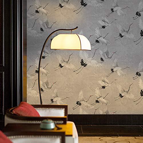 Chinesischer Stil Fliegender Kranich Chinesischer Stil Vlies Tapete Wohnzimmer Schlafzimmer TV Hintergrund Tapete 0,53 * 10m grau