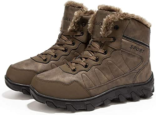 DZX Herren Winter Outdoor Wanderschuhe Warme Hohe Größe Anti-Skischuhe, Fell Gefütterte Wanderschuhe Für Camping, Trekking Und Ski,braun-48