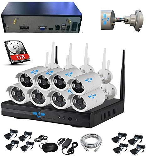 ITALIAN ALARM Kit 8 Telecamere wireless WiFi videosorveglianza esterno + HDD 1TB, APP Android/IOS, Visione Notturna, Antenne NVR removibili, doppia USB, portata 50 mt senza muri, assistenza ITALIA