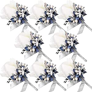 Men Wedding Boutonniere Wedding Flowers Buttonholes Accessories Groom Groomsman Prom Party Suit Decoration (8, White, Silver Gray)