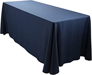 E-TEX Oblong Tablecloth - 90 x 156 Inch - Navy Blue Rectangle Table Cloth for 8 Foot Rectangular Table in Washable Polyester
