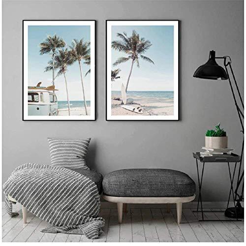 RuiChuangKeJi Wandbilder Sea Beach Surf Auto Kokospalme Wandkunst Leinwand Malerei Nordische Poster und Drucke für Wohnzimmer Wohnkultur 2x60x80cm (23.6x31.5in) ohne Rahmen