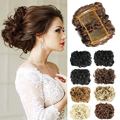 NOTICEME Short Messy Curly Dish Hair Bun Extension Easy Stretch hair Combs Clip in Ponytail Extension Scrunchie Chignon Tray Ponytail Hairpieces(4/30#)