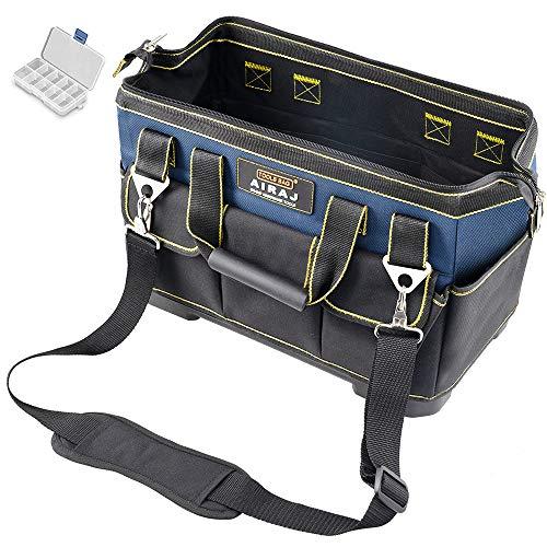 AIRAJ Kleine Werkzeugtasche 33*21*26cm,Werkzeugtasche aus robustem 600D Oxford-Nylon,mit ABS-Kunststoffboden -Verstellbarer Schultergurt,Professionelle Werkzeugtasche Für Elektro Und Handwerkzeuge