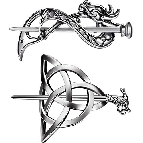 2 Pieces Viking Celtic Hair Clips Hairpin Dragon Hair Sticks Hairpin Triangle Clips Slide Pin Hair Stick Celtic Knot Viking Jewelry Hair Accessories for Women and Ladies