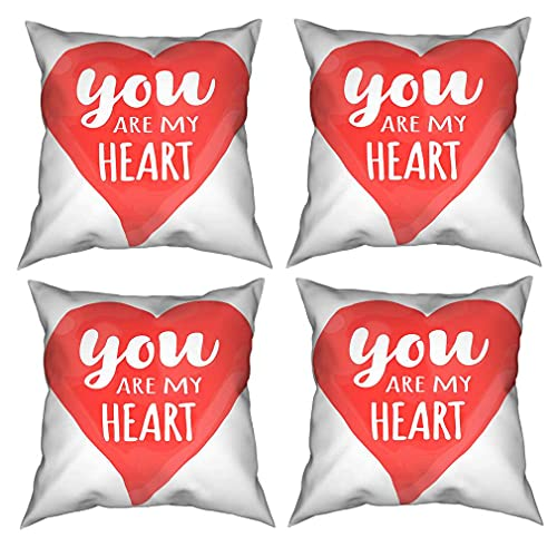 SAIAOS Juego de 4 Funda de Cojín 55x55cm Tarjeta del día de San Valentín con Letras Dibujadas a Mano Eres mi corazón y Acuarela Ilustración romántica en Forma de corazón Fundas de Almohada