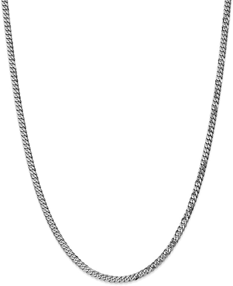 Solid 14k Clearance SALE Classic Limited time White Gold 3.2mm Beveled - Chain Necklace w Curb Cuban