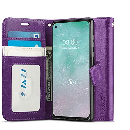 JundD Kompatibel für Motorola Moto G Pro Leder Hülle, [Handytasche mit Standfuß] [Slim Fit] Robust Stoßfest PU Leder Flip Handyhülle Tasche Hülle für Moto G Pro Hülle - Violett