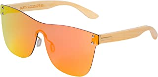 Bamboo Wood Sunglasses for Men and Women, Shield Rimless Wooden Sunglasses
