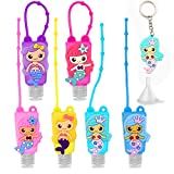6Pcs Kids Empty Hand Sanitizer Holder Keychain Carrier Travel Size Bottle with Silicone Case Leak Proof Refillable Containers, Liquid Soap, Lotion (Mermaid)