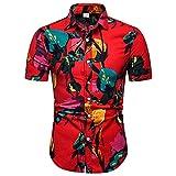 JFX Camisa de Hombre poliéster Estilo Nacional Camiseta Impresa Delgada Chaqueta Personalizada de Manga Corta XL A