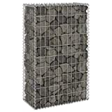 GOTOTOP Stone Gabion Stone Cage, Galvanised Metal for Wall Fence Garden Decoration, 60 x 30 x 100 cm, Silver