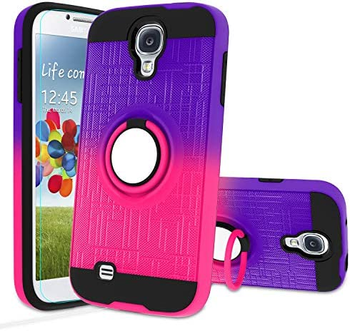 Galaxy S4 Case Galaxy S4 Phone Case with HD Screen Protector Atump 360 Degree Rotating Ring product image