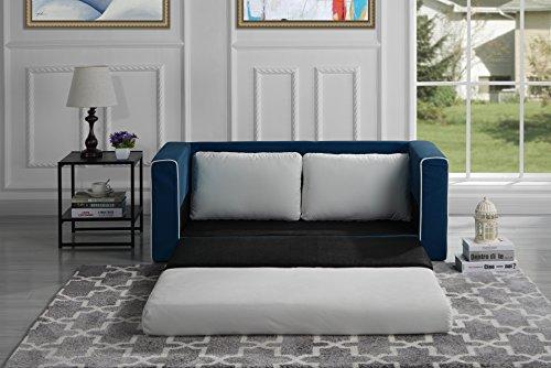 Divano Roma Furniture Modern Sofas, Navy/Beige