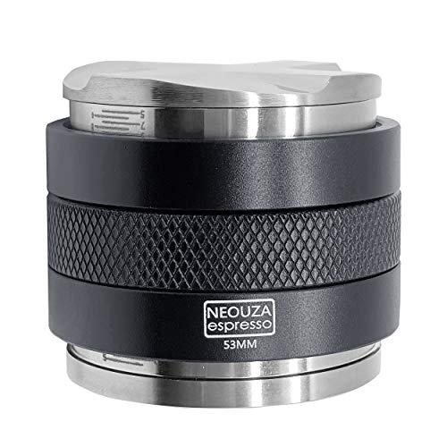 NEOUZA 53mm Kaffeeverteiler & Sabotage 2 in 1, Lasermarkierungsskala, Doppelkopf-Kaffeewaage Passend für 54mm Breville Siebträger, einstellbare Tiefe, Vier Lüfter